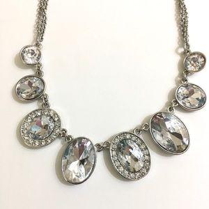 Cezanne Rhinestone Pendants Silver Necklace